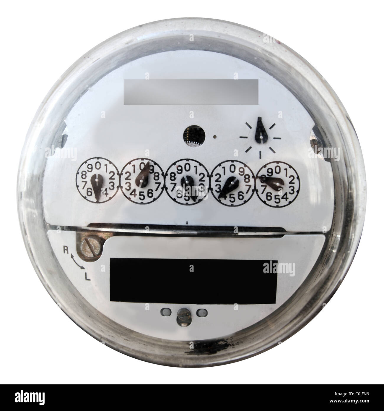 Analog electric meter display round with glass cover - Stock Image