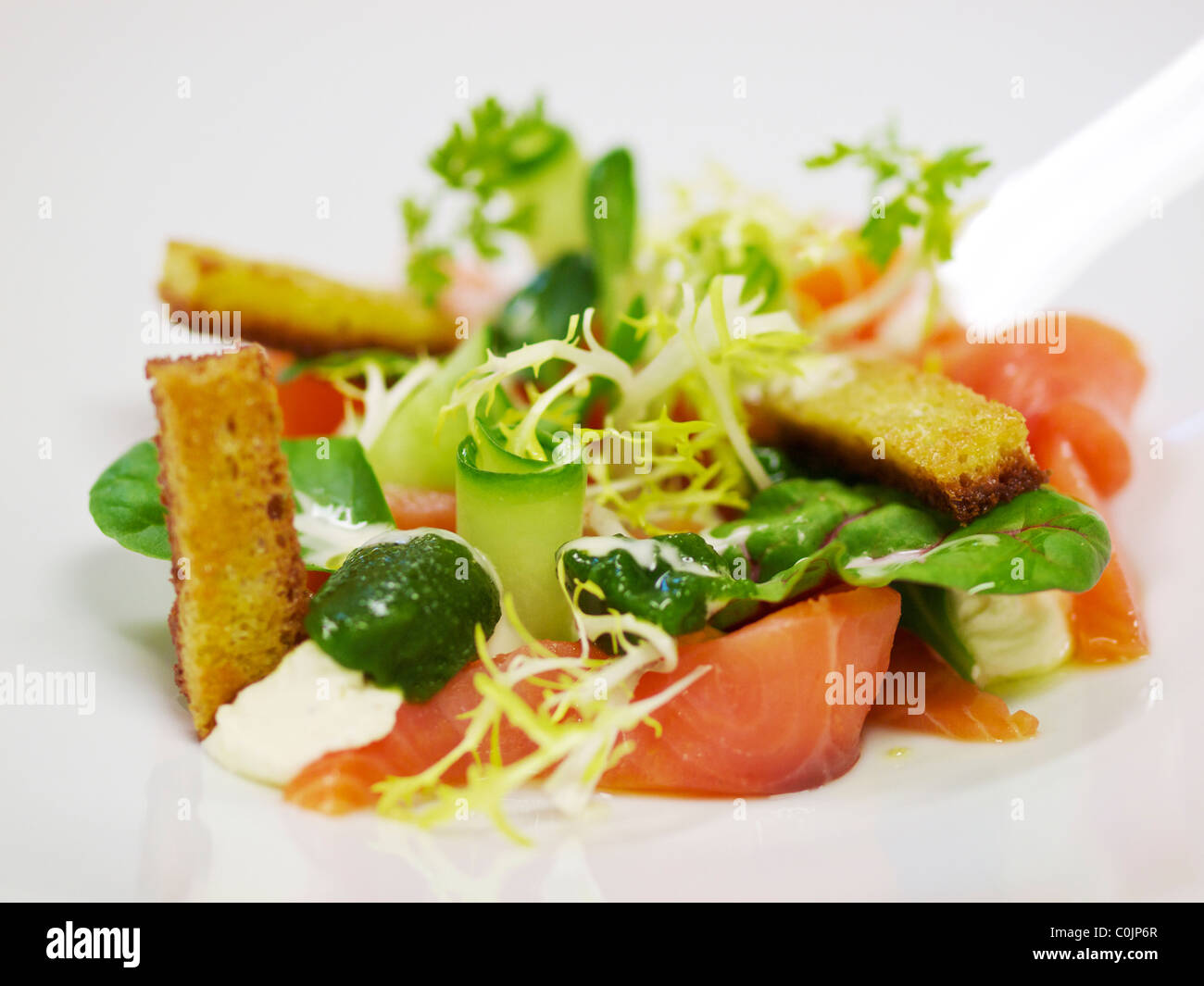 Beautiful lunch dish with smoked salmon close up. - Stock Image