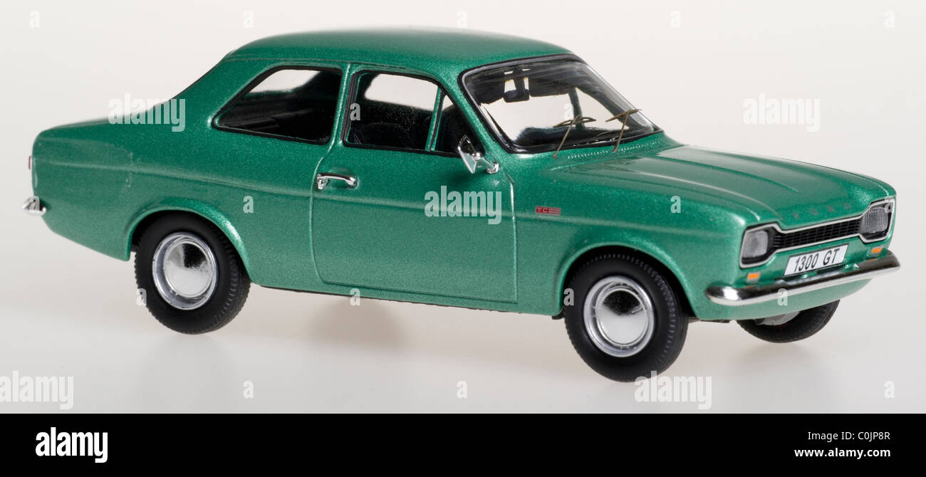Trofeu Ford Escort Mk 1 1300GT 1:43 scale Die Cast Model Car Green - Front Right 3/4 view. Stock Photo