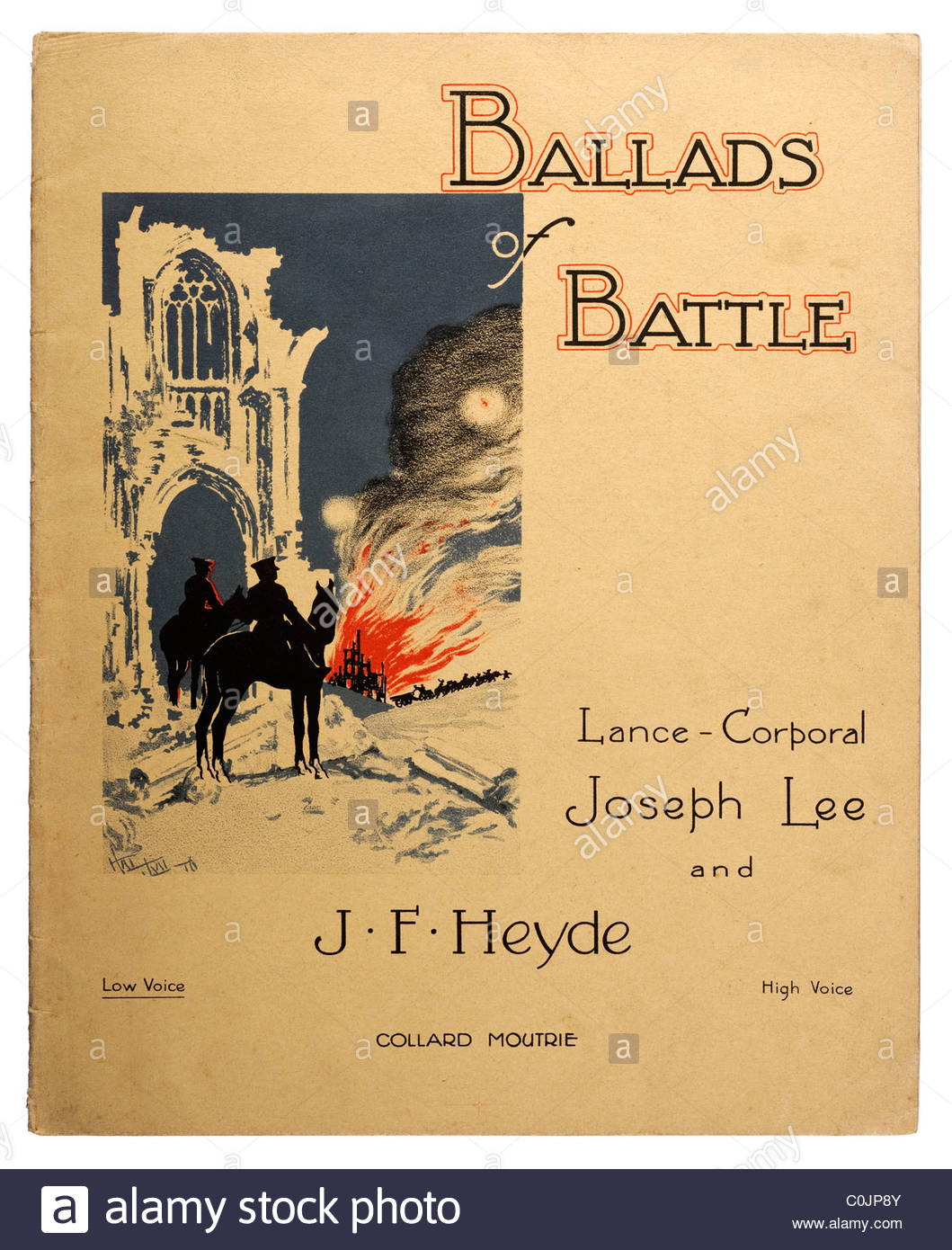 Old rare sheet music front cover from 1916 titled 'Ballads of Battle' by Lance Corporal Joseph Lee and J - Stock Image