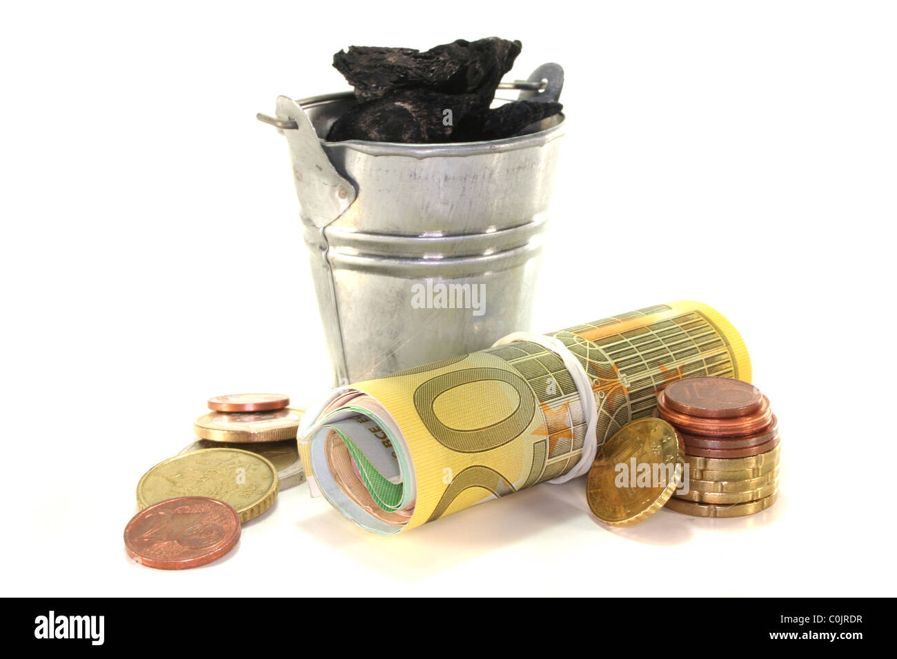 Bucket of coal and euro notes on a white background Stock Photo