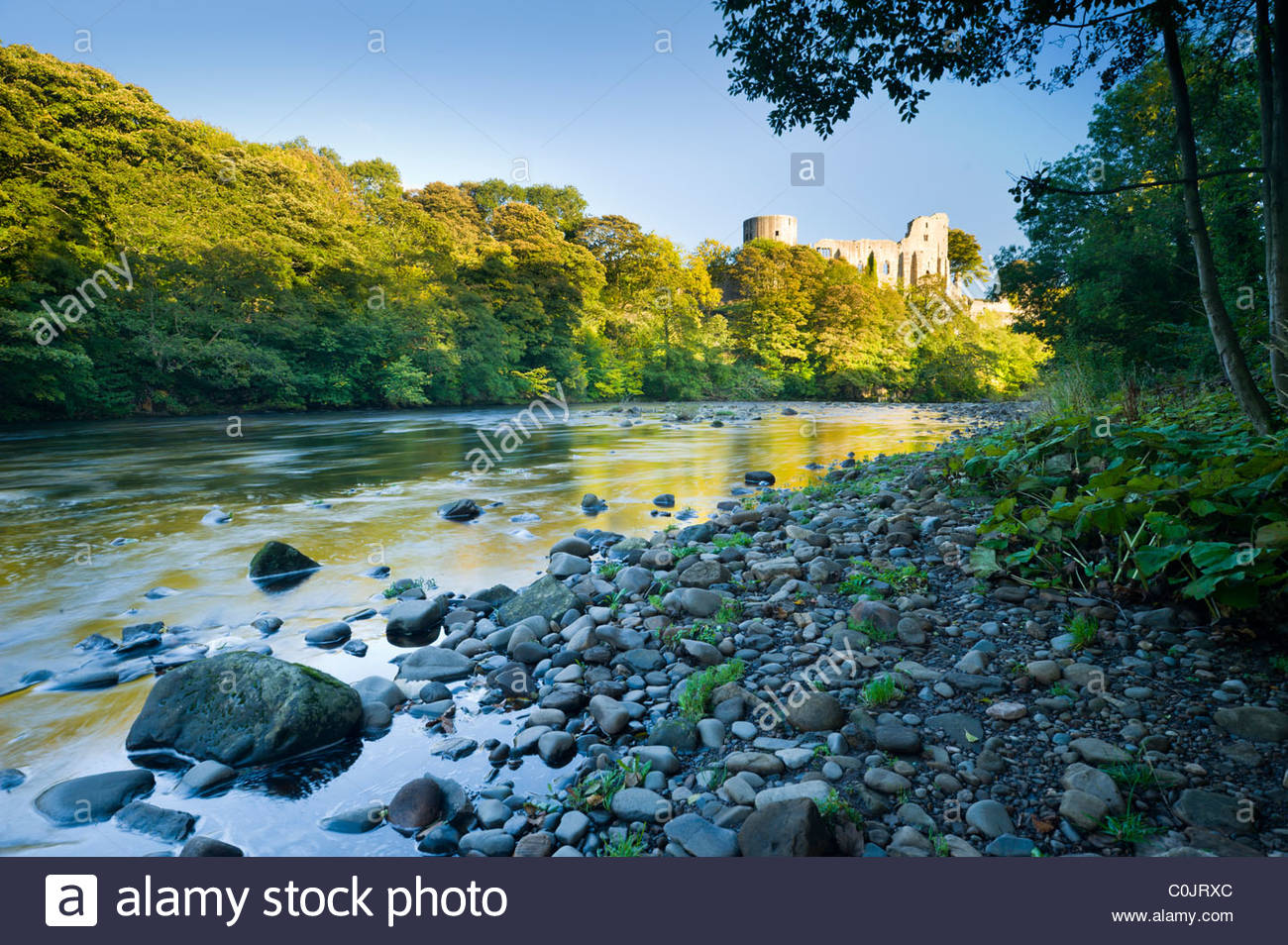 Barnard Castle and the River Tees, Teesdale, County Durham, England - Stock Image