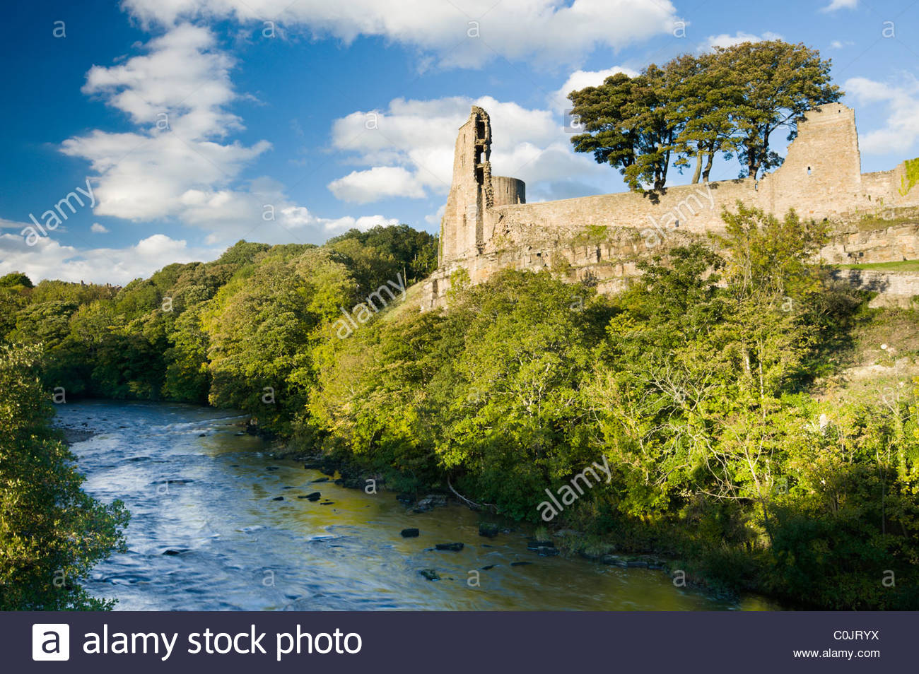 Barnard Castle and the River Tees, Teesdale, County Durham, England, UK. - Stock Image