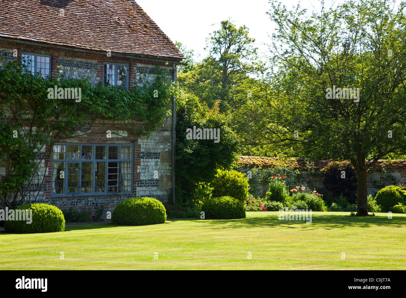 The Walled Garden And Lawn Of An English Country House In Wiltshire England UK