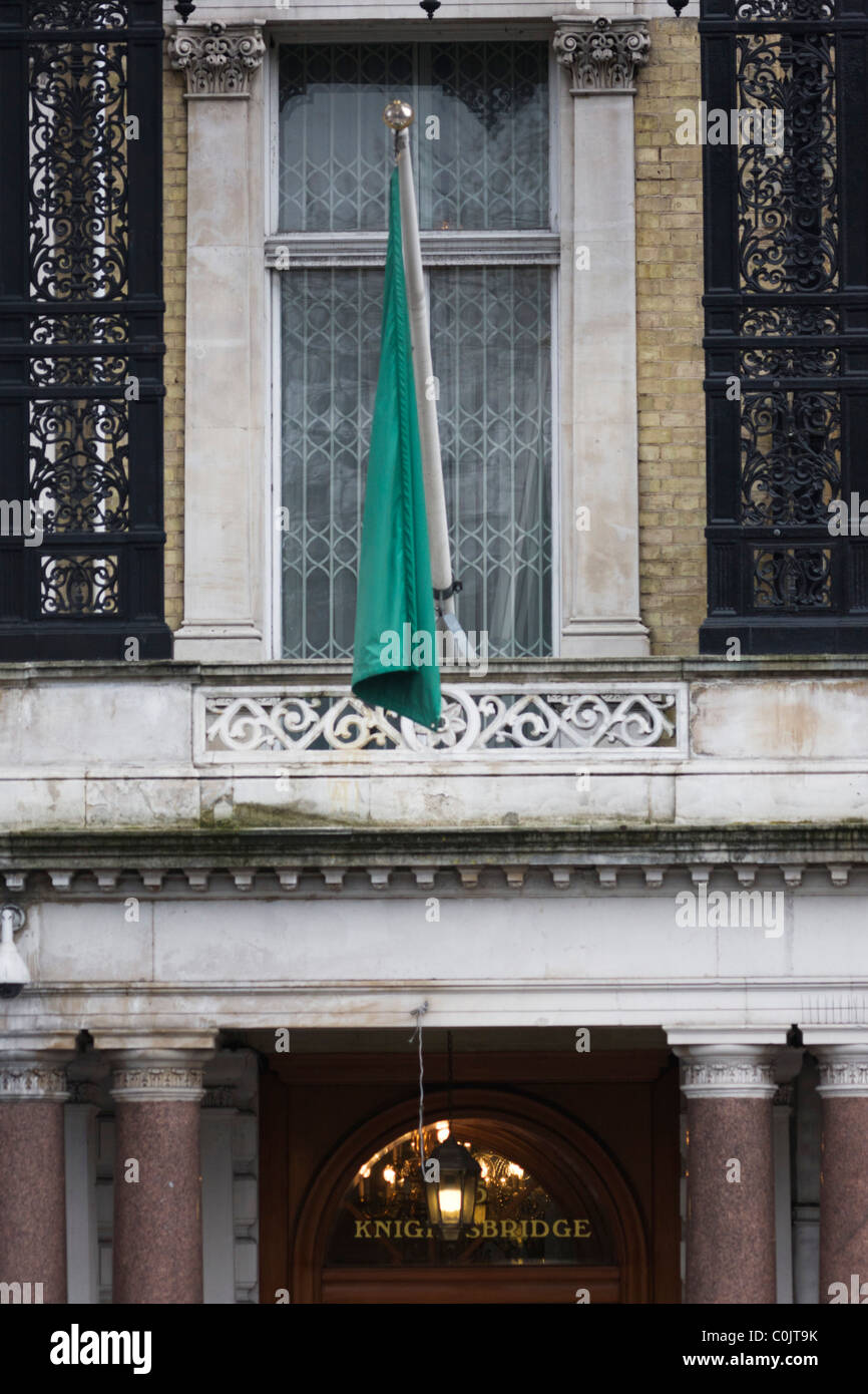 Exterior of the London Libyan embassy that still flies the pro-Gaddafi flag. - Stock Image