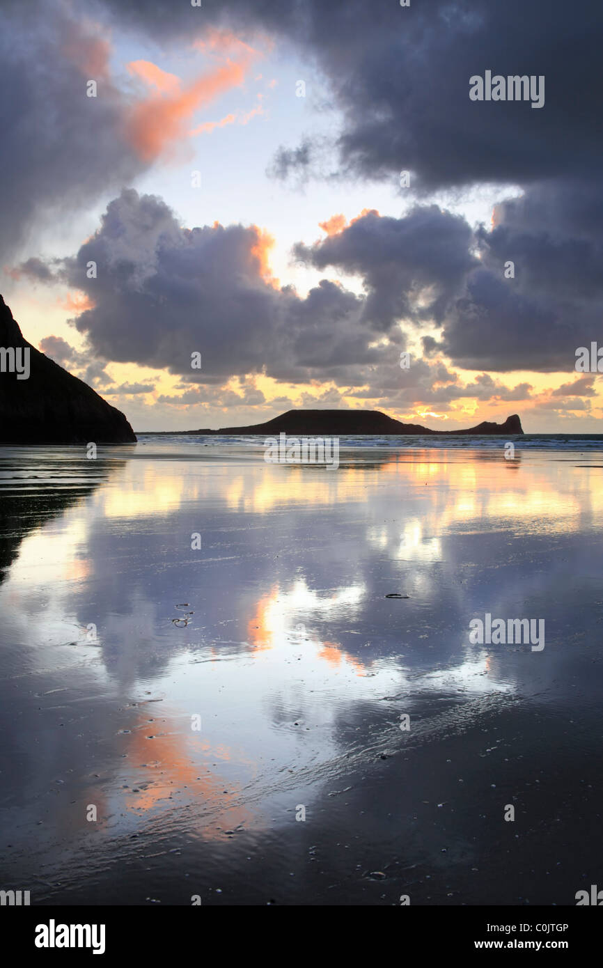 Worms Head captured from Rhossili Beach on Gower, South Wales - Stock Image