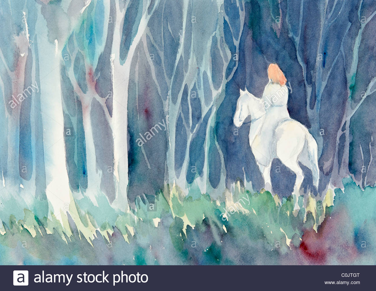 A mysterious woman on horseback rides into a darkened forest. - Stock Image