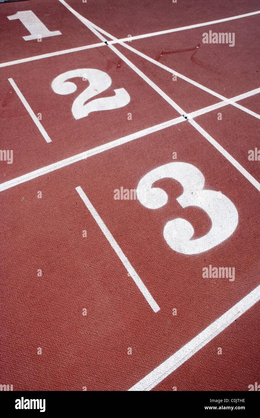 Athletics track numbers. - Stock Image
