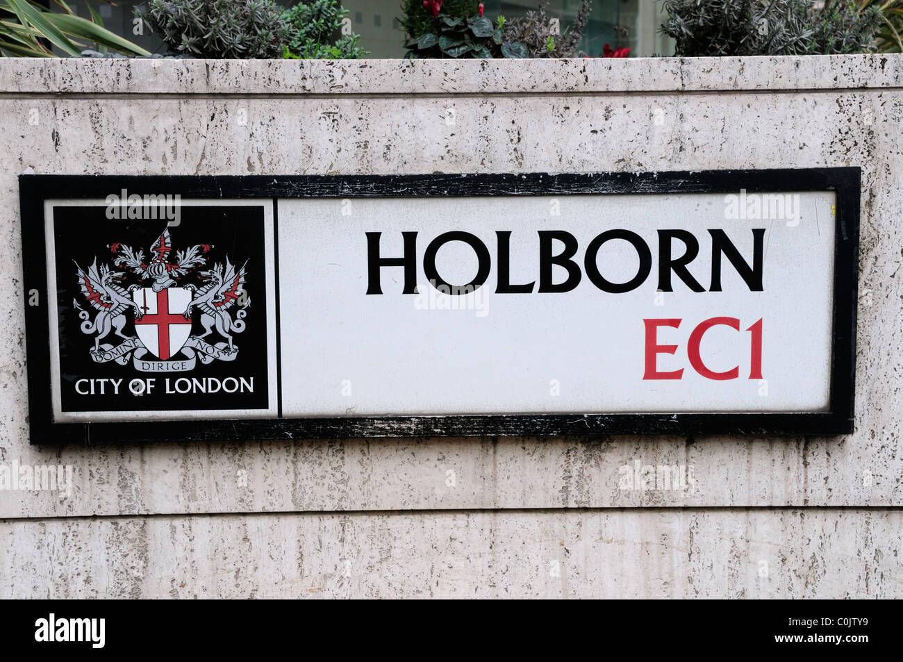 Holborn EC1 Street Sign, London, England, UK - Stock Image