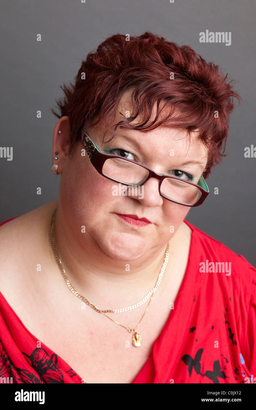 portrait of overweight woman - Stock Image