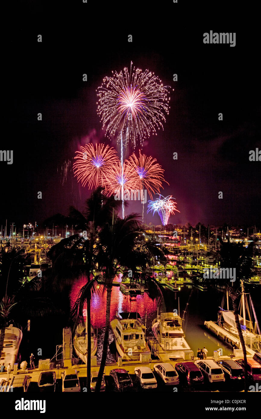 Fourth of July fireworks display, Ala Wai Yacht Harbor, Waikiki, Honolulu, Oahu, Hawaii Stock Photo