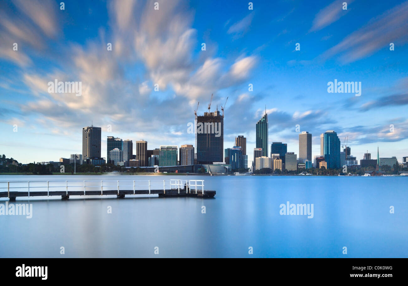 Long five minute exposure of Perth and the Swan River creating a calm and tranquil effect - Stock Image