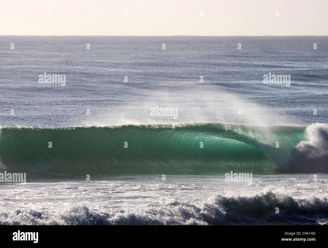 Breaking wave at Burleigh Heads Gold Coast Australia - Stock Image