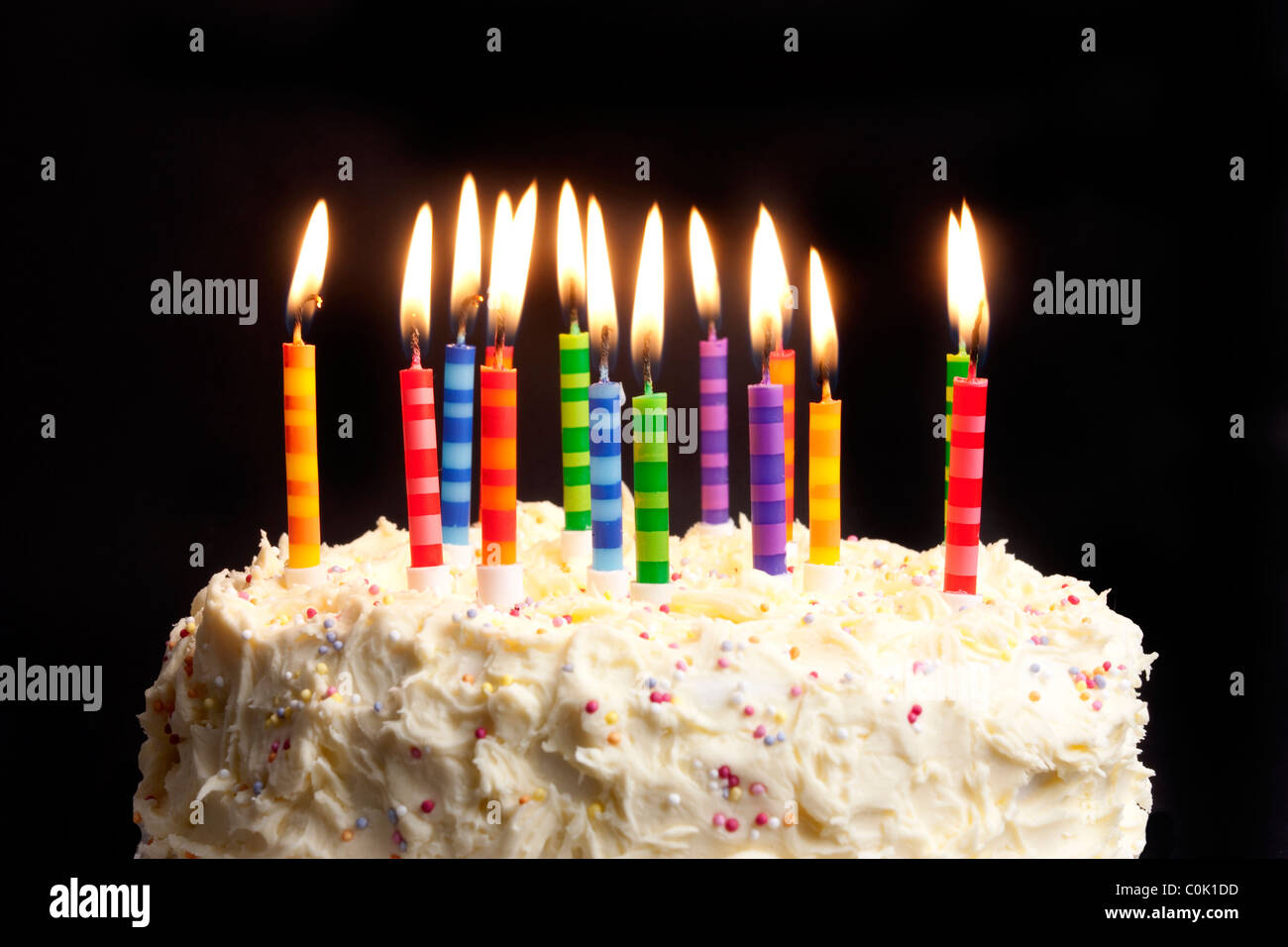 Awe Inspiring Happy Birthday Cake Shot On A Black Background With Candles Stock Funny Birthday Cards Online Fluifree Goldxyz