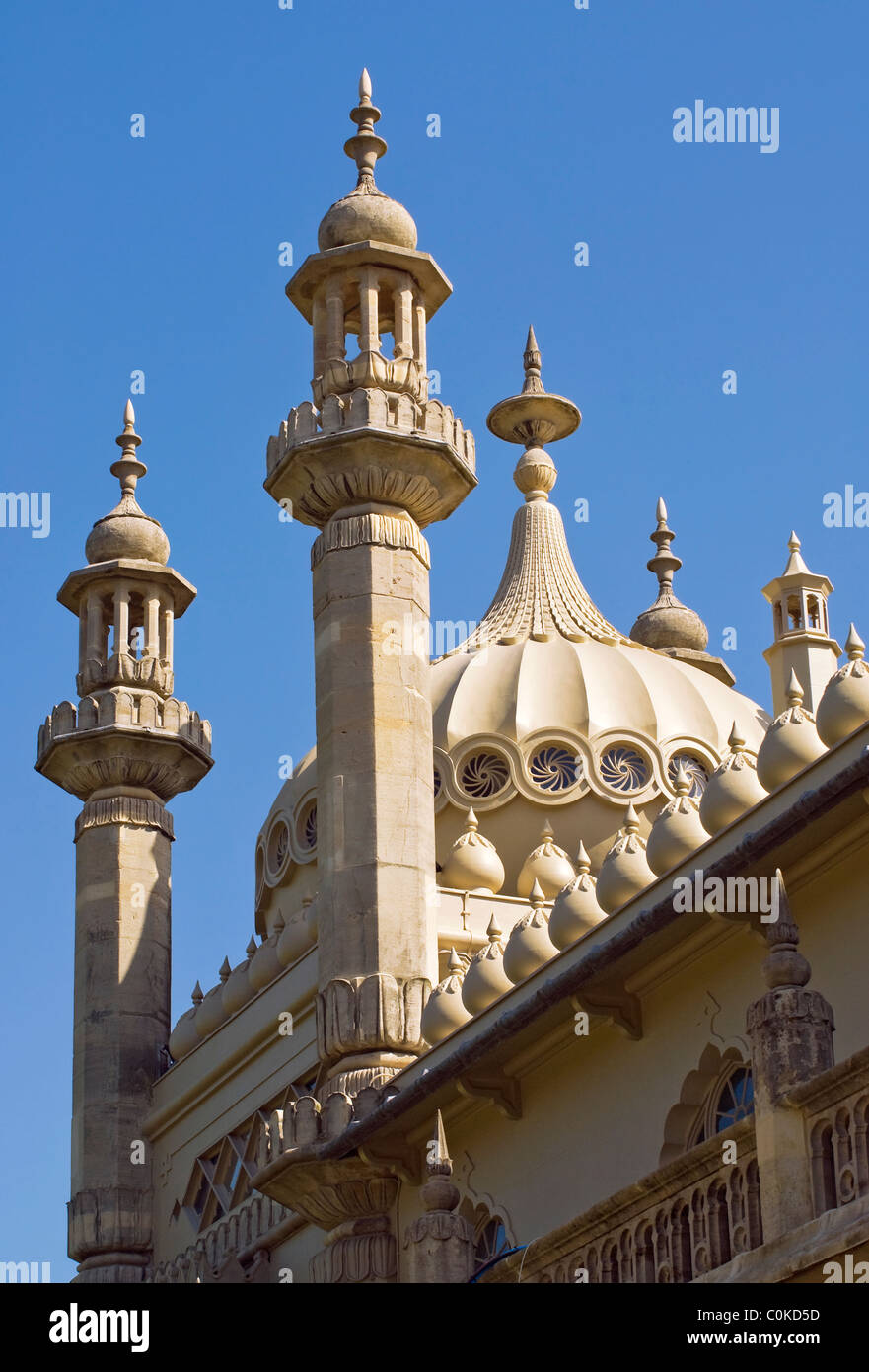 Historical Royal Pavillion a at the popular coastal resort of Brighton in East Sussex, South England. - Stock Image