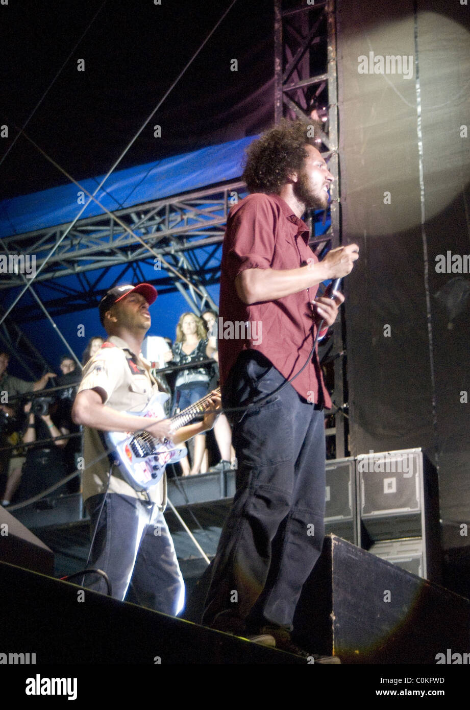 Zack de la Rocha and Tom Morello of Rage Against the Machine performing at Lollapalooza 2008 at Grant Park Chicago, - Stock Image