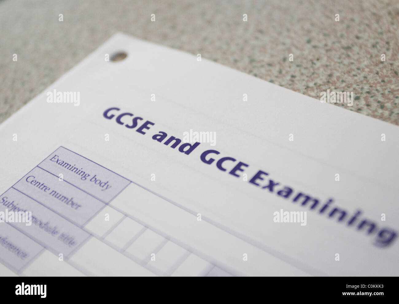A GCSE and GCE examination paper in Maidstone, Kent, U.K. - Stock Image
