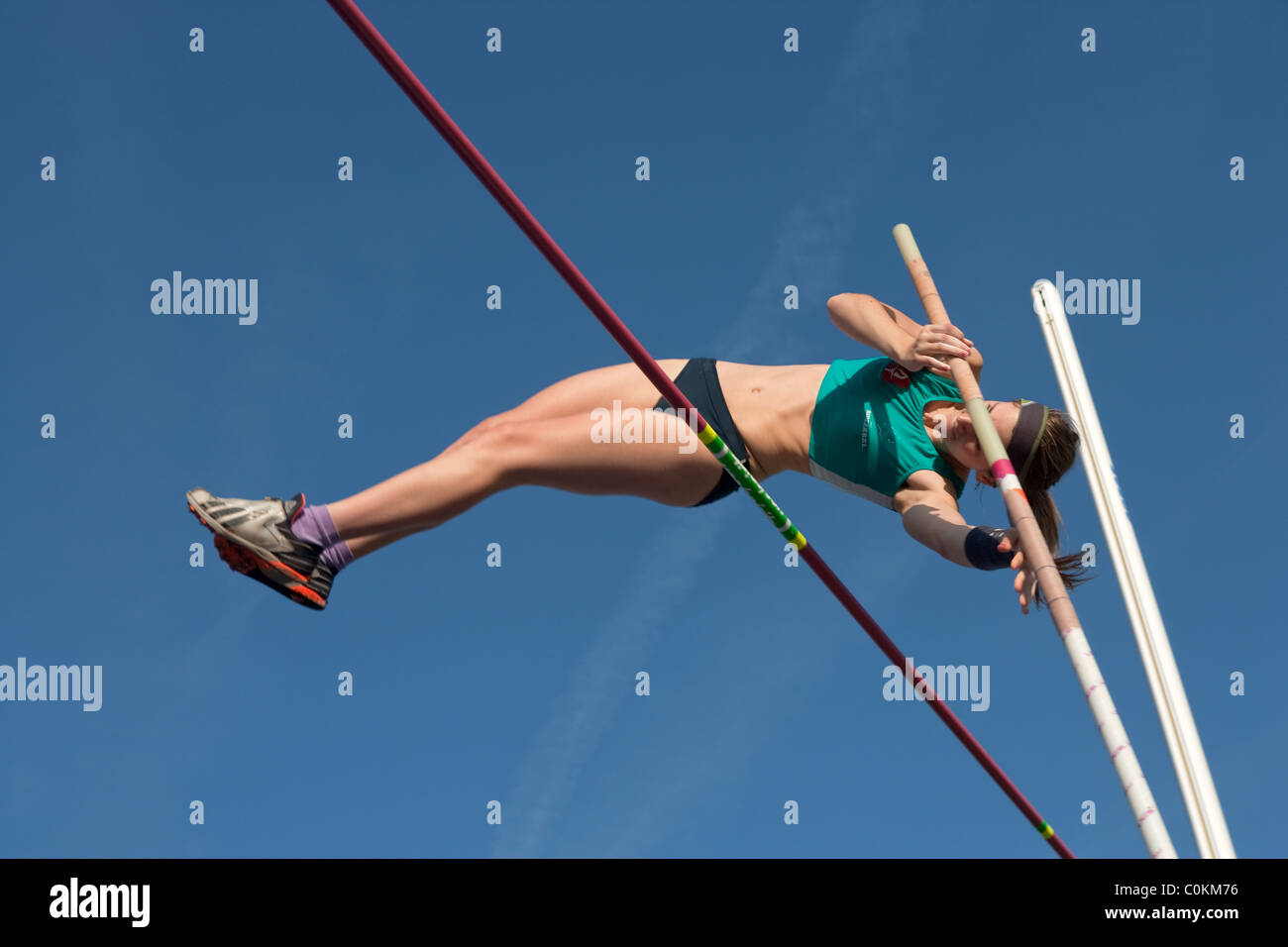 pole vaulting Sport outdoor Athletics competition race athlete. Championships of Spain, July 3rd 4th 2010 Calvià - Stock Image