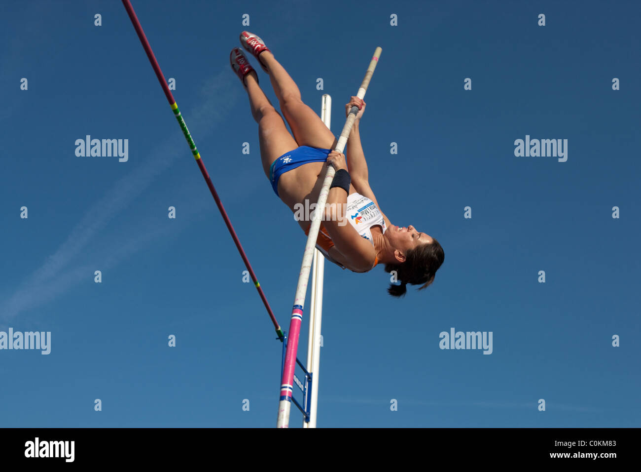 pole vault athlete female jumping sport outdoor Athletics competition Championships of Spain, July 3rd 4th 2010 - Stock Image