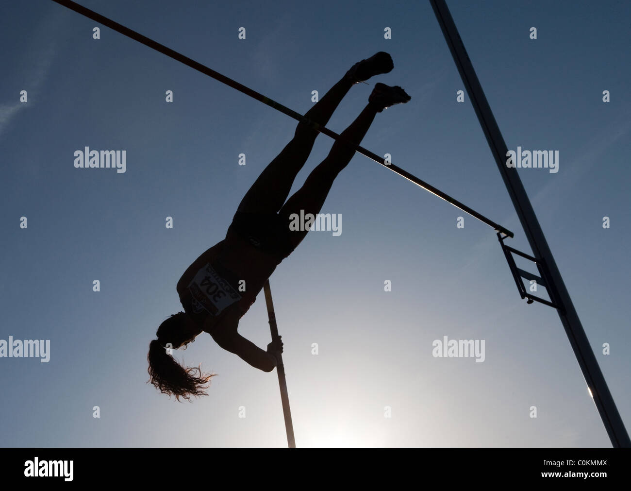 pole vault athlete woman jumping Sport outdoor Athletics competition Championships of Spain, July 3rd 4th 2010 Calvià - Stock Image