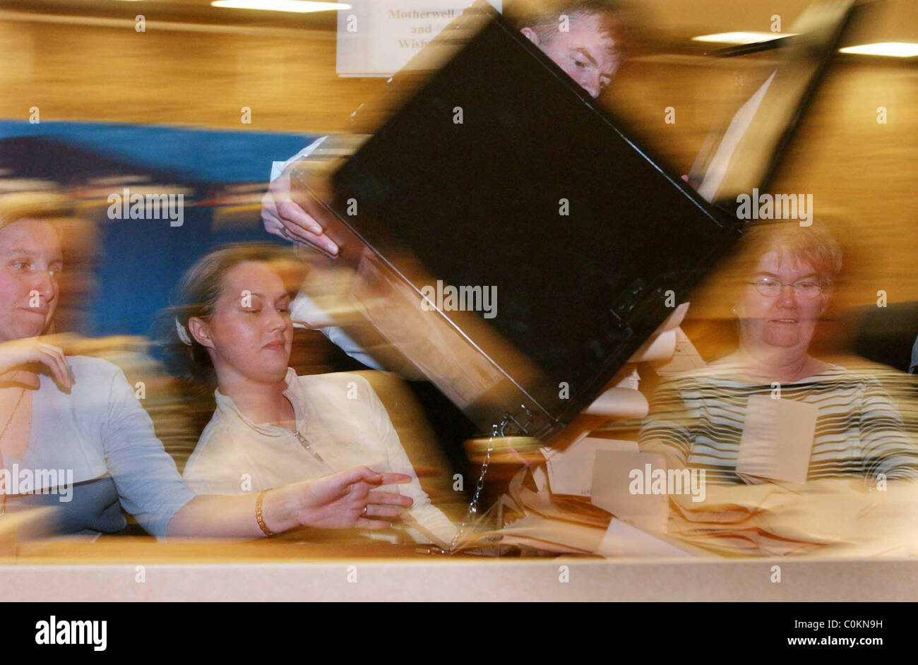 Scottish Parliamentry Elections , counting the votes for Motherwell and Wishaw Constituency - Stock Image