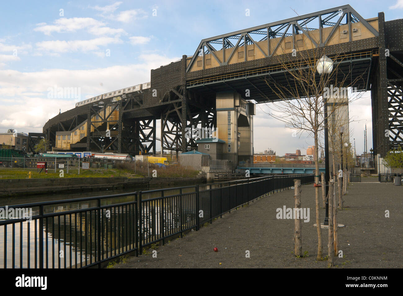 Brooklyn, NY -- The New York City Subway reaches its highest point at Smith and Ninth Street where it crosses the - Stock Image