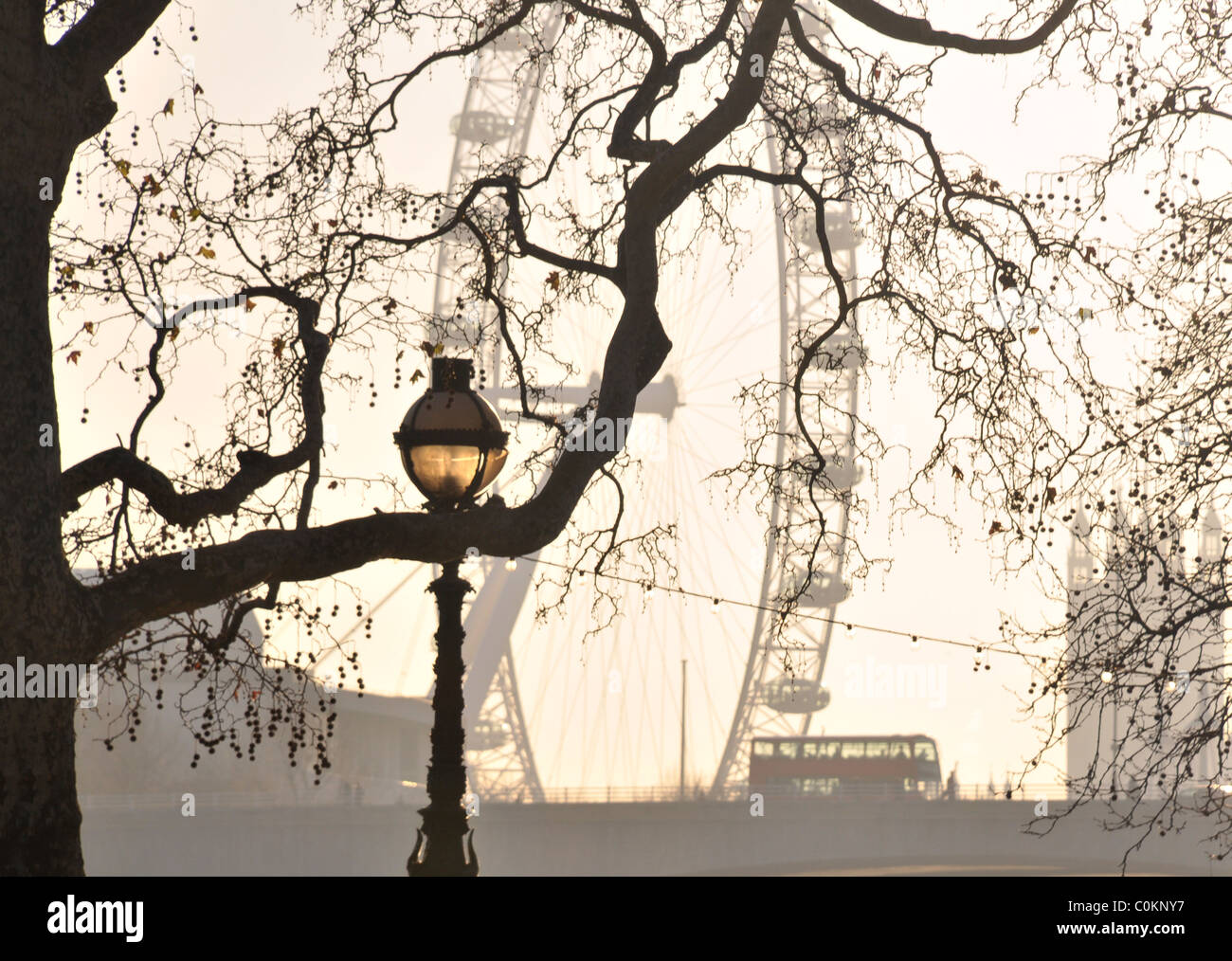 Silhouette Skyline Of The London Eye Westminster And Bus