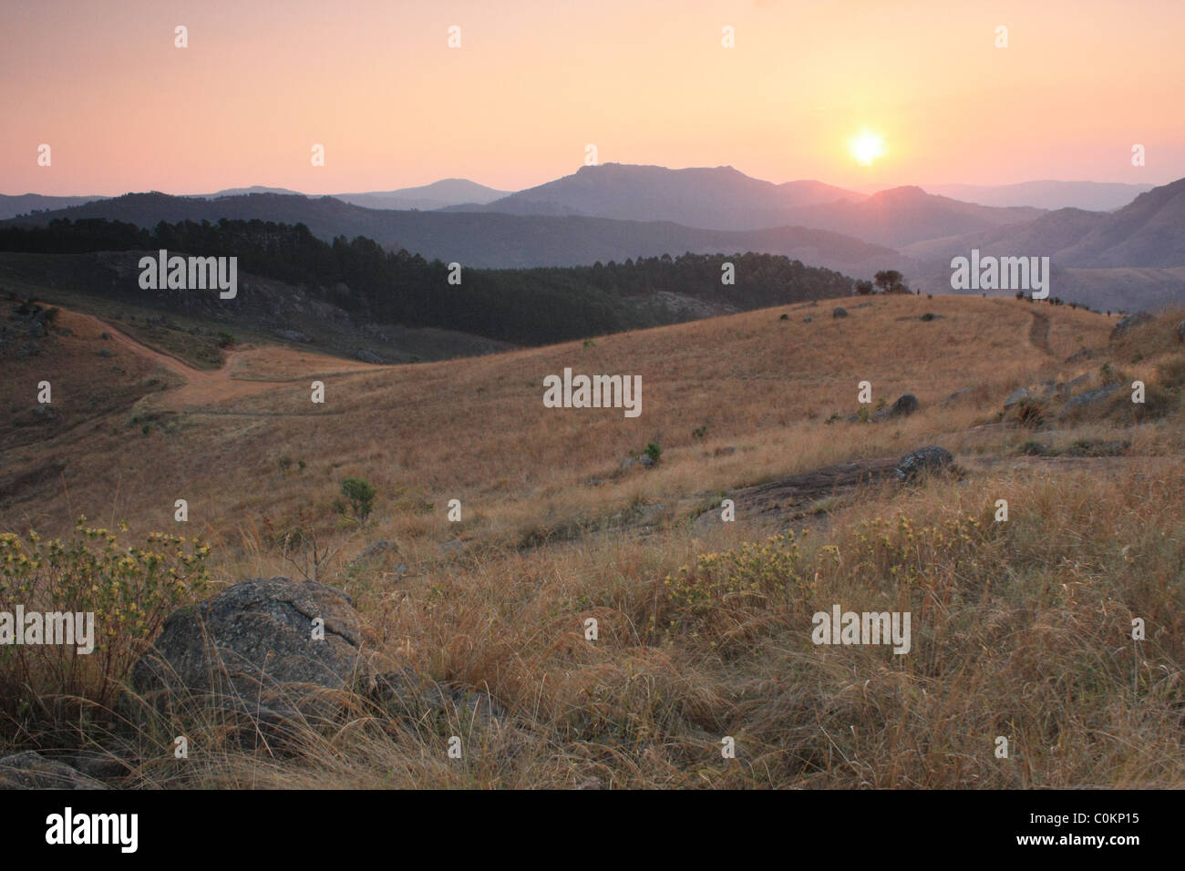 Sunset in the Mliliwane Hills, Swaziland - Stock Image
