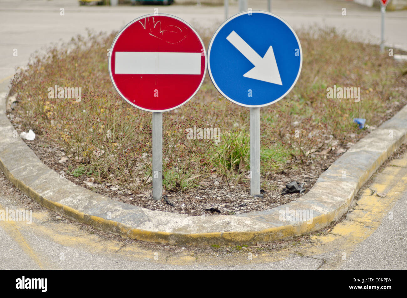 No entry one way roundabout - Stock Image
