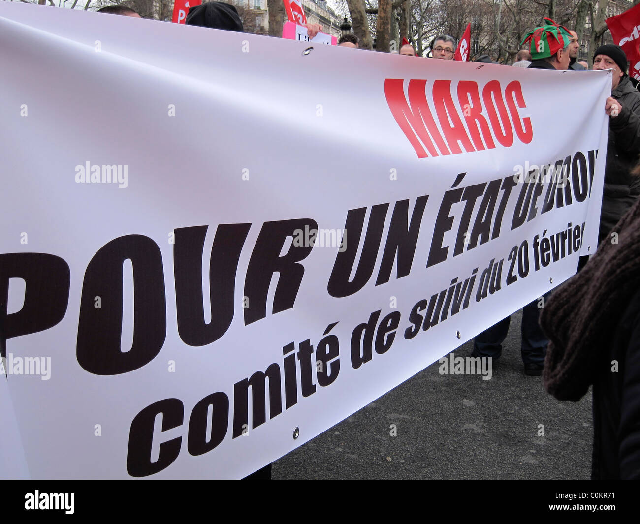 Paris, France, Detail protest Banners at Morocco Demonstration, in Support of Arab Revolutions - Stock Image