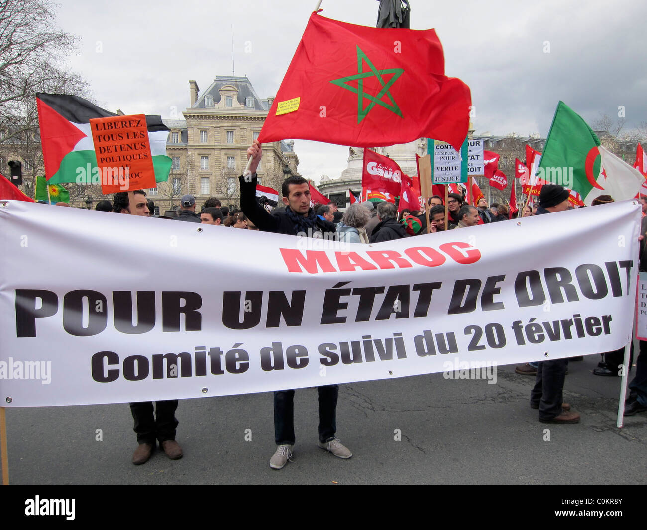 Paris, France, Morocco Demonstration, French Banner , Solidarity of Arab Revolutions 'Arab Spring Protests' - Stock Image