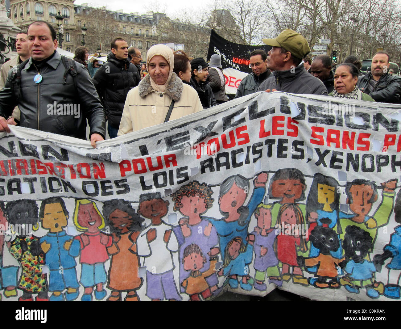 Paris, France, Demonstration, Group Immigrants Without Documents, 'Sans Papiers' Marching, Holding Anti - Stock Image