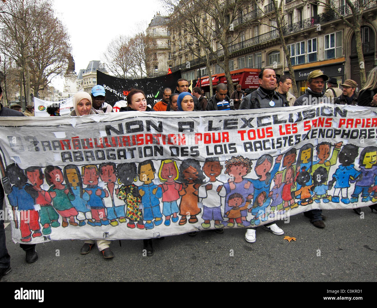 Paris, France, Anti-Racism Demonstration, Migrants Rally, 'Immigrants Without Documents' (Sans papiers) - Stock Image