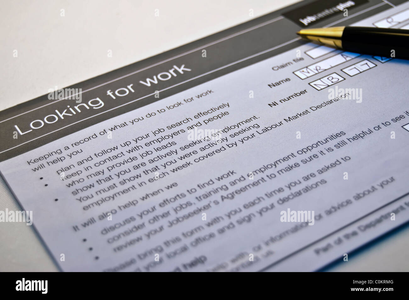 An unemployment form for jobseekers who are looking for work - Stock Image