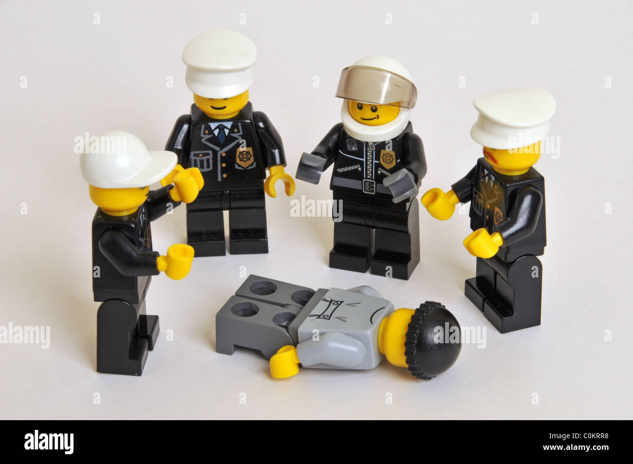 Cops Robbers Police brutality criminal Lego - Stock Image