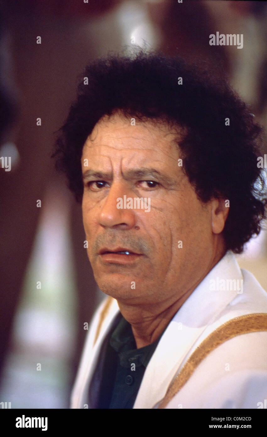 Libya President Muammar Gaddafi during celebrations of his 20 years in power, Tripoli, Libya - Stock Image