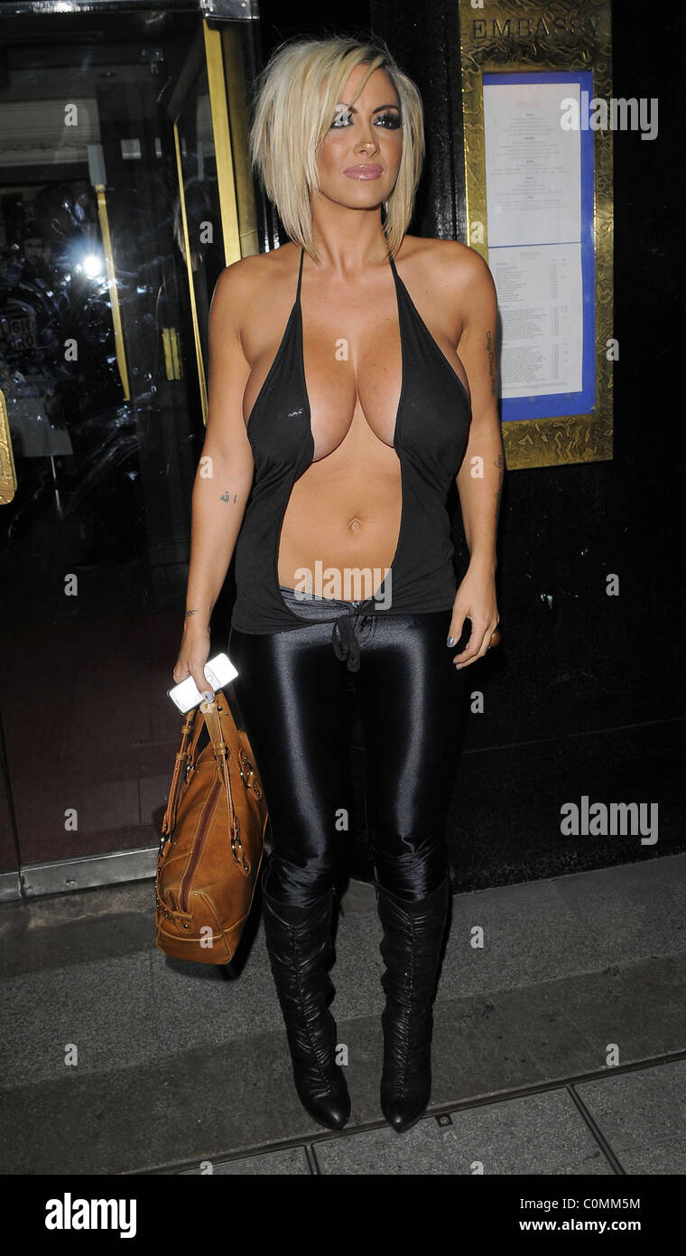 Jodie Marsh arrives at the Embassy Club wearing a very ...