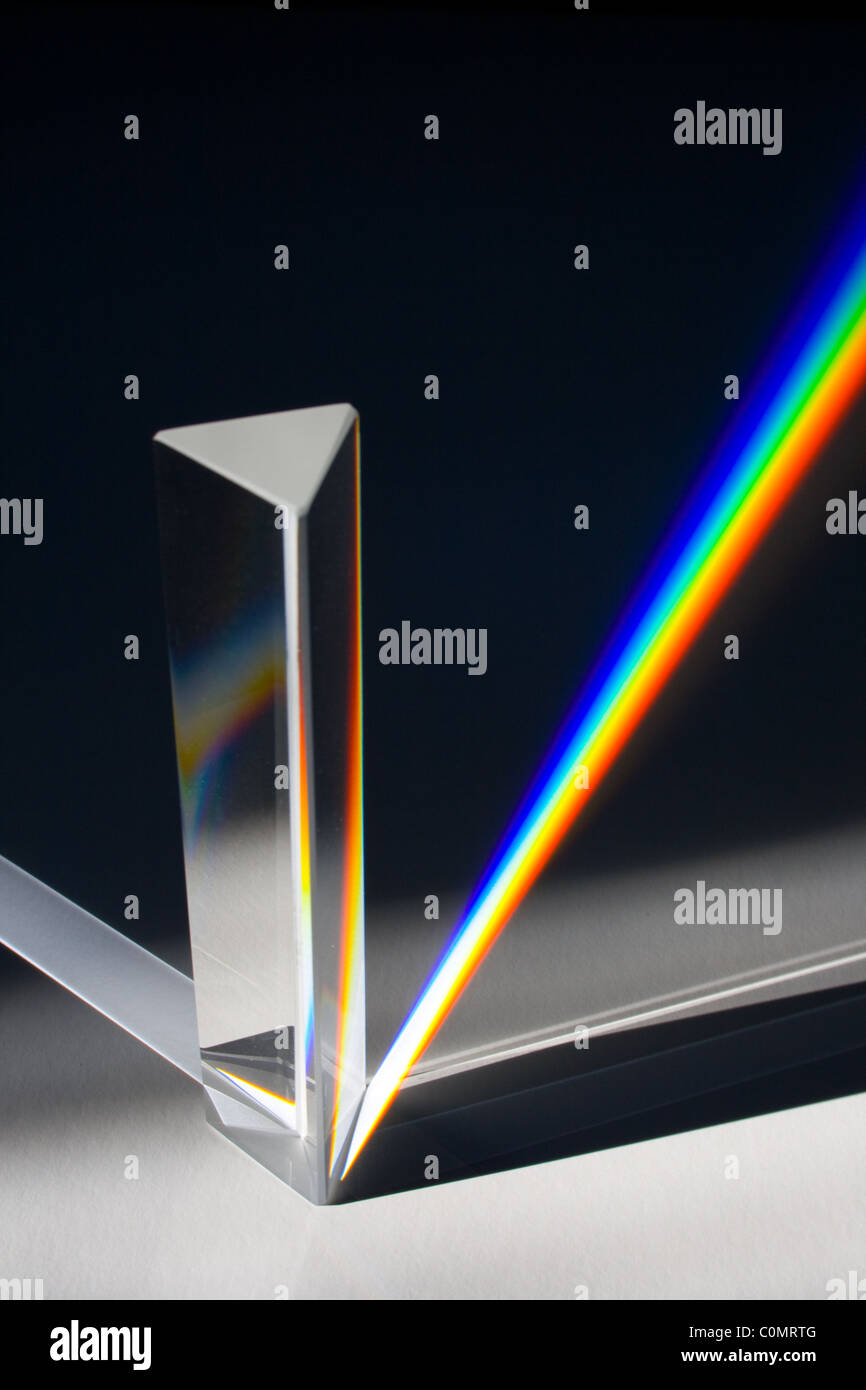 Light Spectrum Created by Sunlight Passing Through Glass Prism - Stock Image