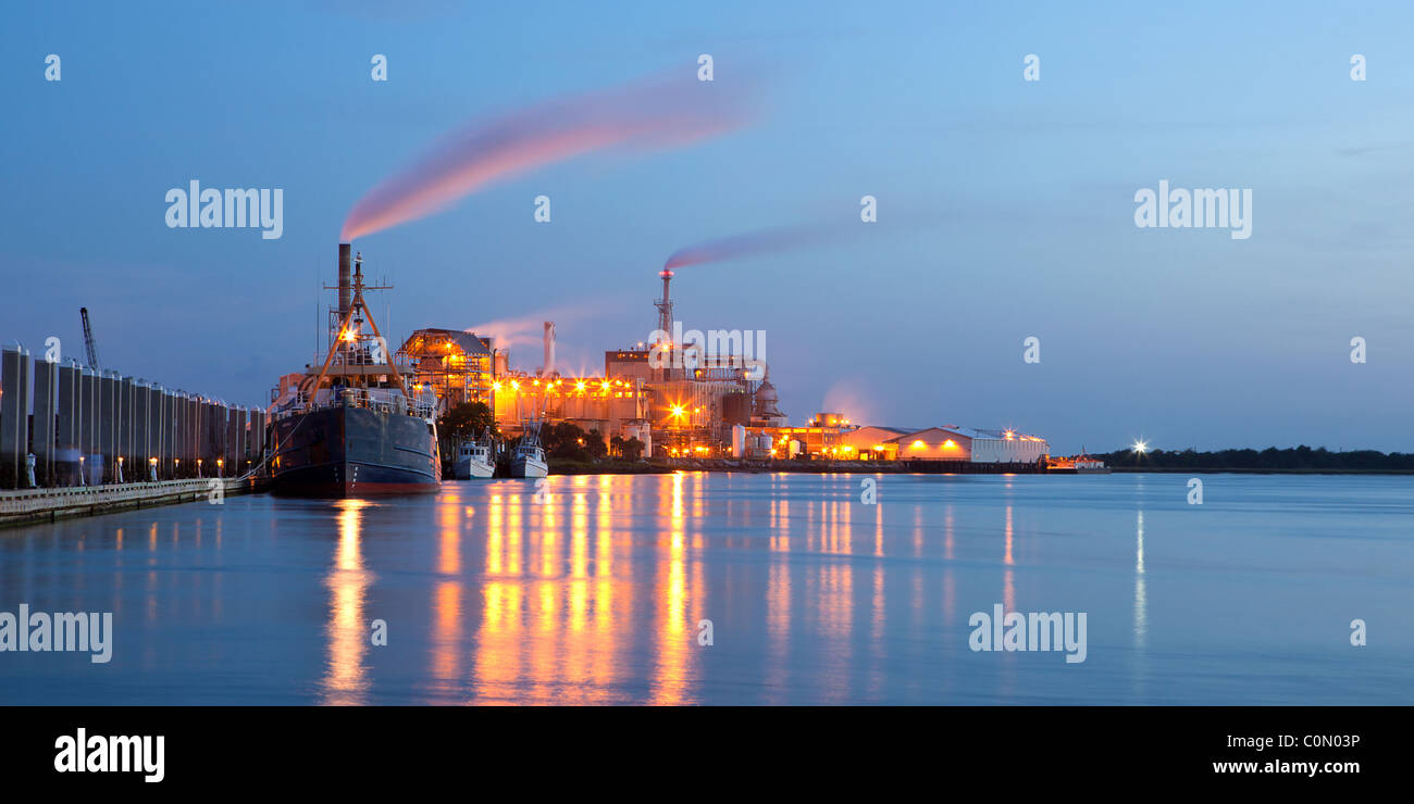 Chemical Plant With Ships In The Night