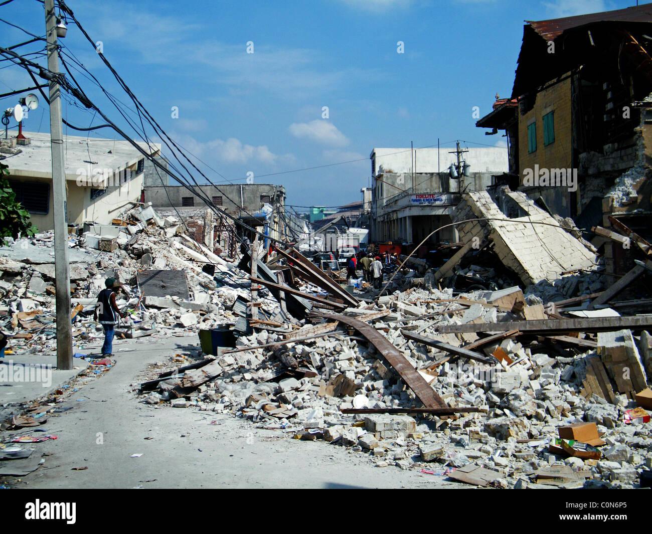 Central Port au Prince after the Haiti earthquake - Stock Image