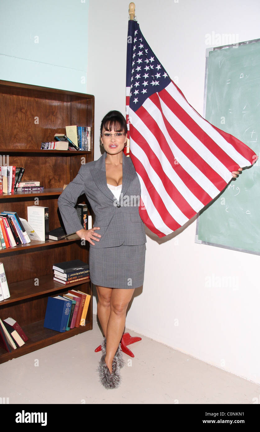Lisa Ann, as Serra Paylin, the lookalike of Governor of Alaska, Sarah Palin on the movie set for the first day of - Stock Image