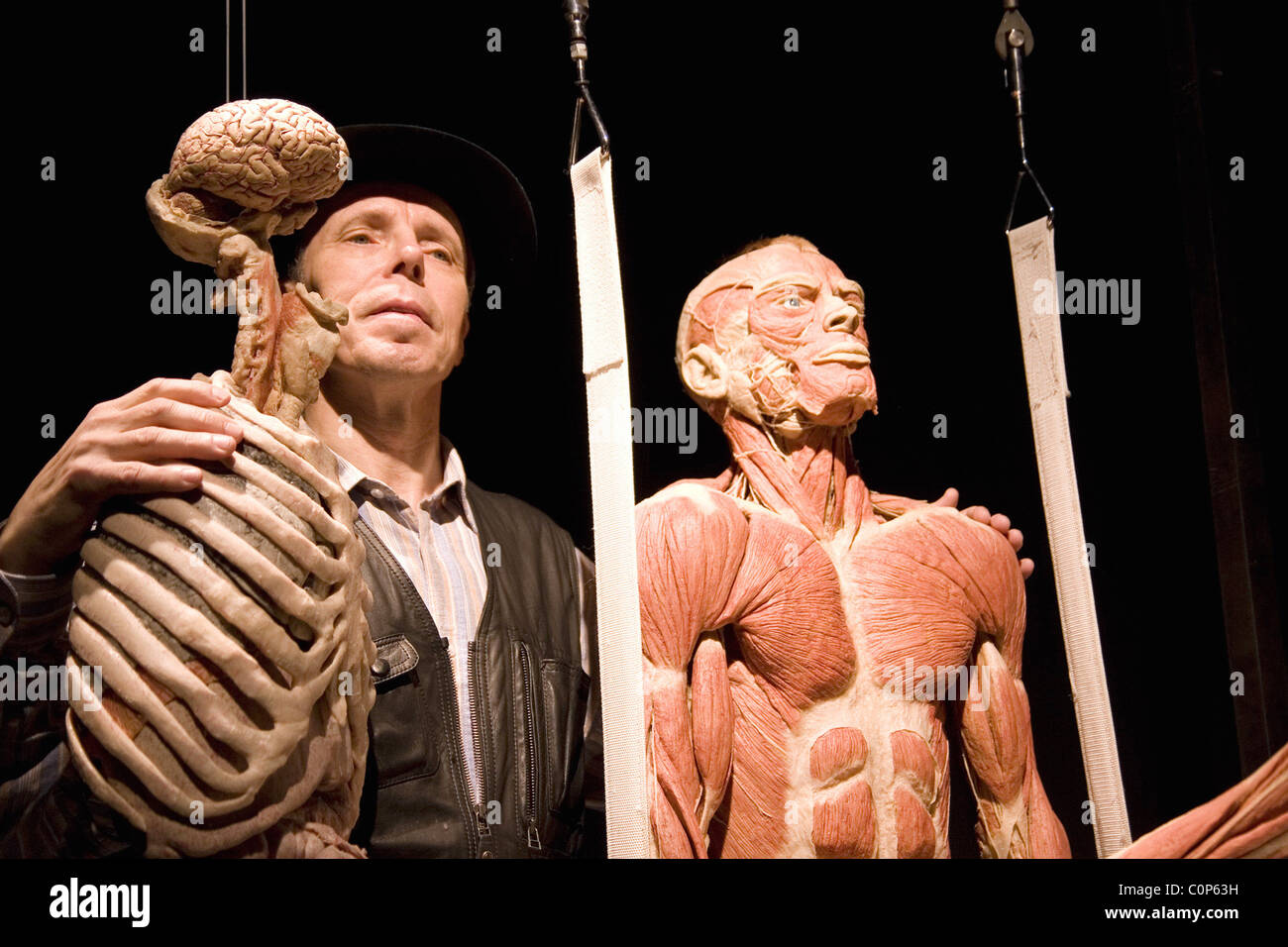 Dr. Gunther von Hagens poses with one of his real human creations at ...