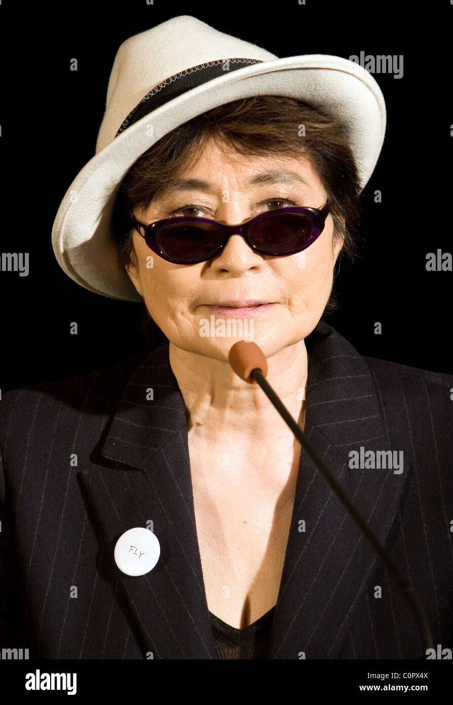 Yoko Ono Attends The Opening Of Her Exhibition Fly At The Centre Of Stock Photo Alamy