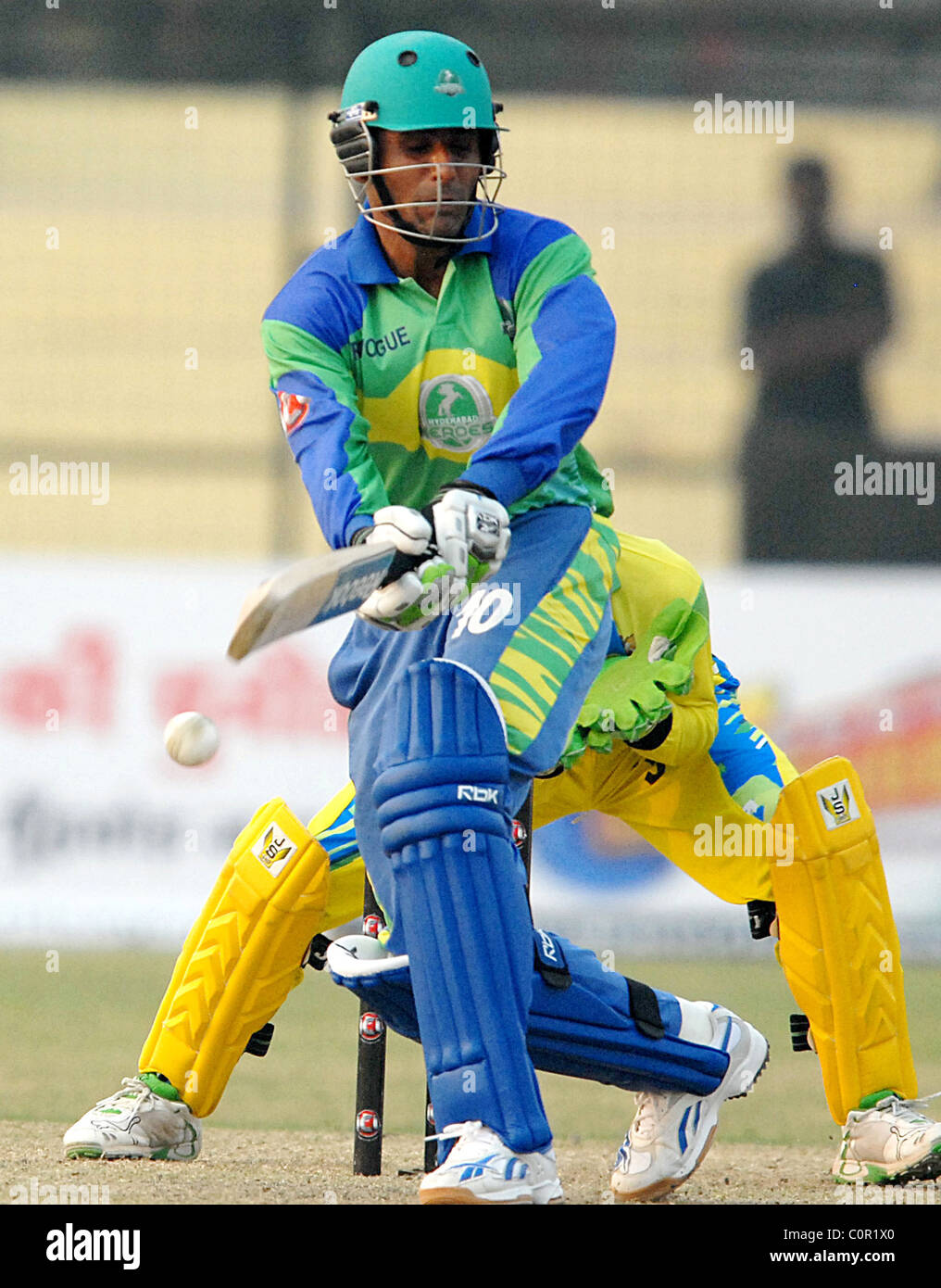 Abdul Razzak Of Hyderabad Heroes In Action Against Delhi Giants The During ICL T20 Tournament