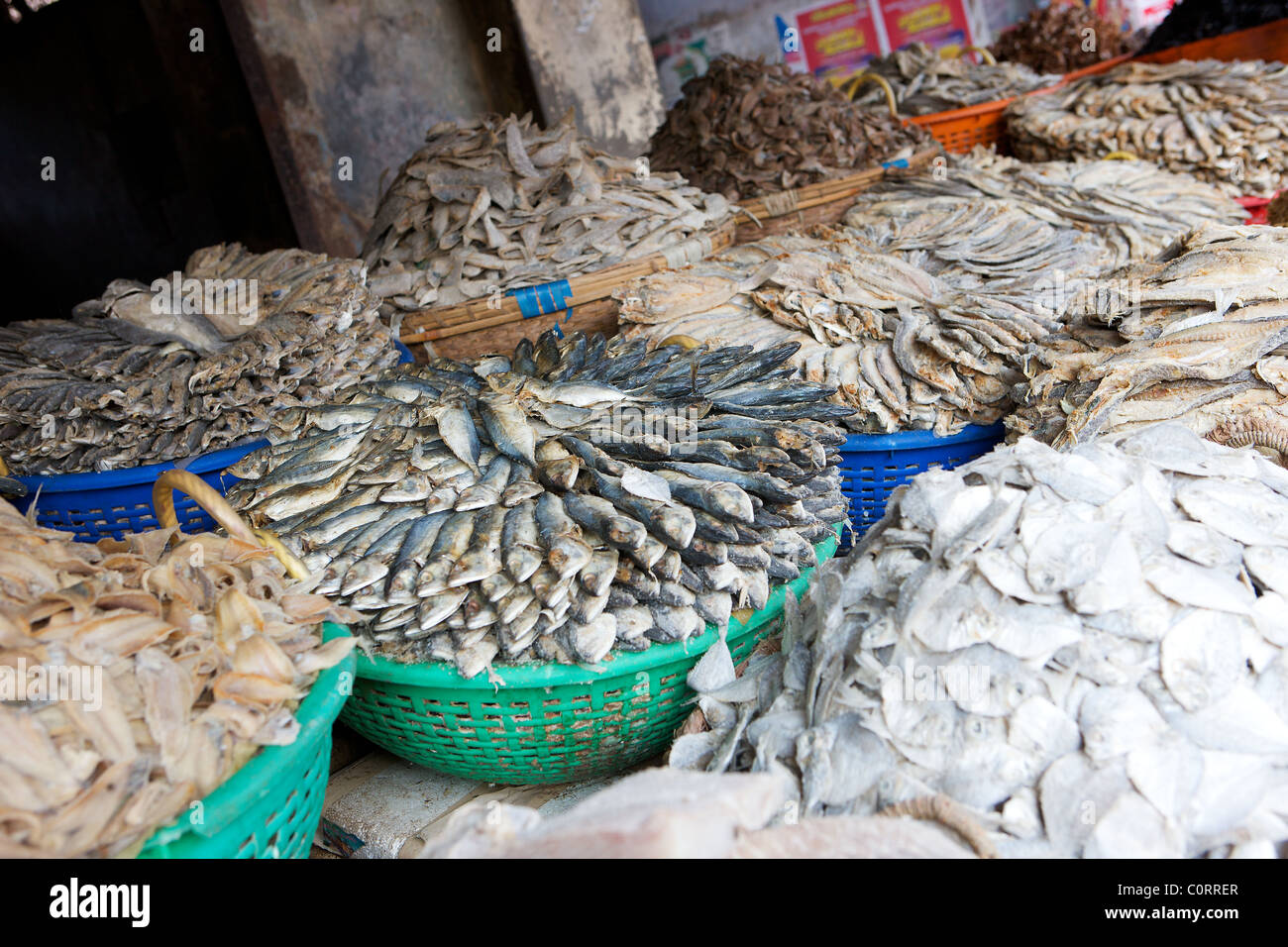 Dried Fish For Sale In Market In Fort Cochin Kerala India Stock Photo Alamy