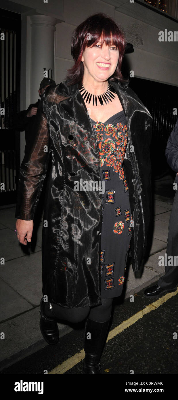 Janet Street Porter leaving a private party, held at the home of Barclays senior executive Roger Jenkins, at 3.30am. - Stock Image