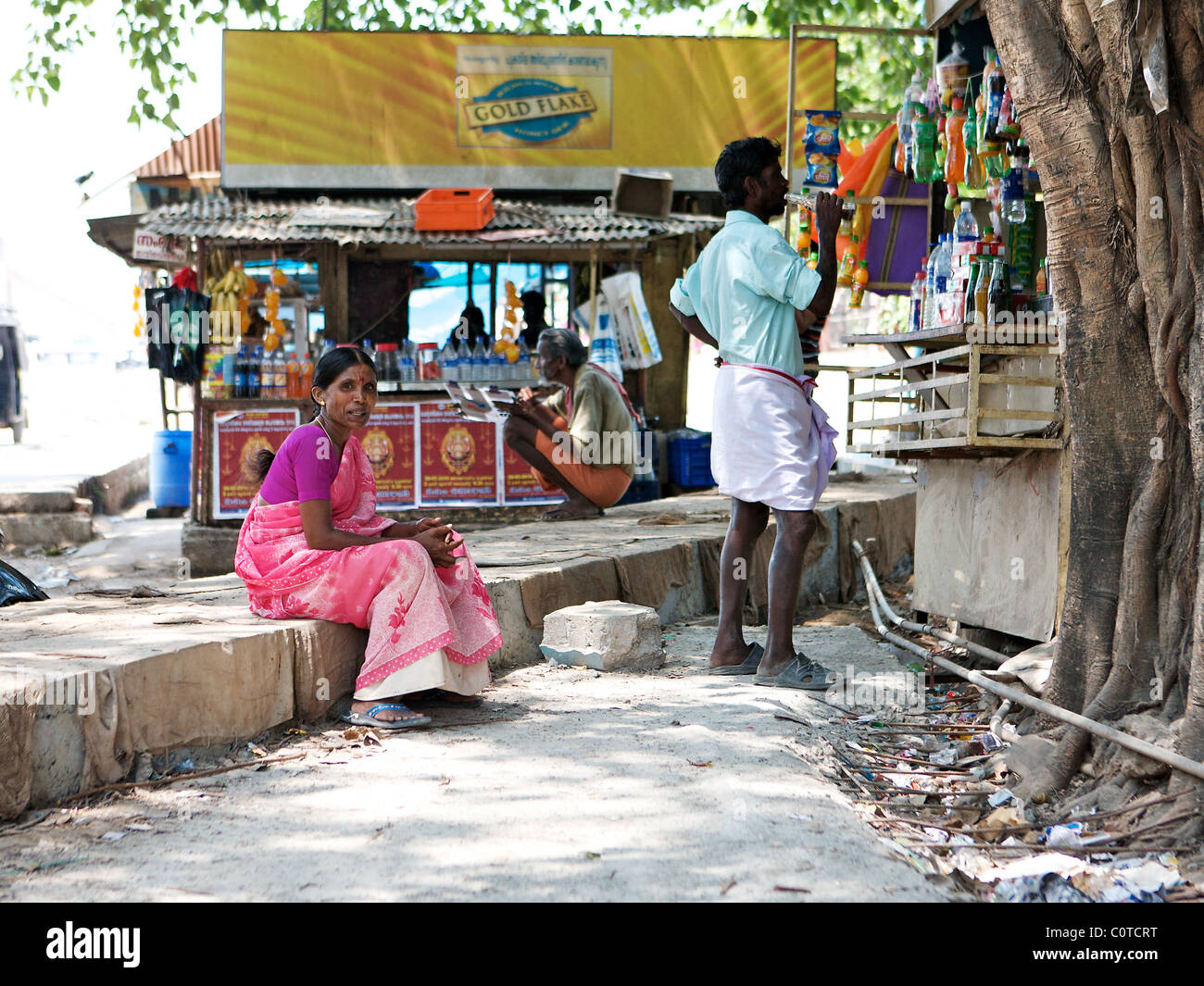 Street life in Fort Cochin, Kerala, India - Stock Image