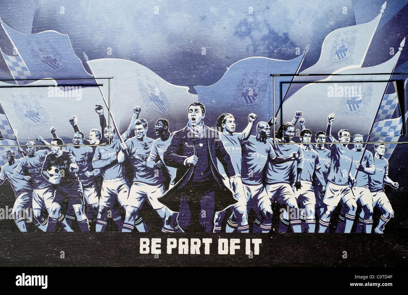 A large artwork on an exterior wall at Manchester City's Etihad football stadium in England - Stock Image