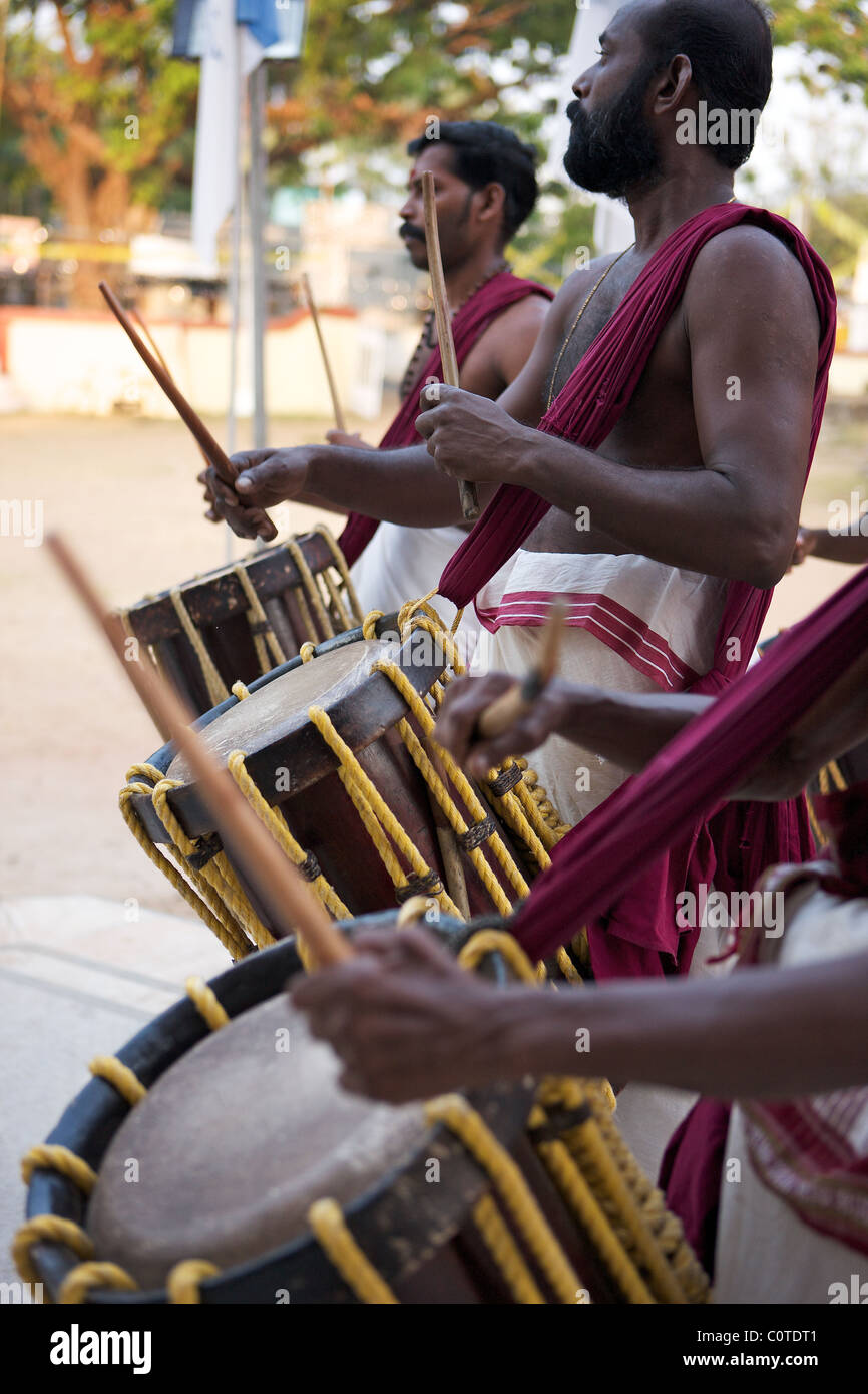 Traditional Indian drummers, Kochi, Kerala, india - Stock Image