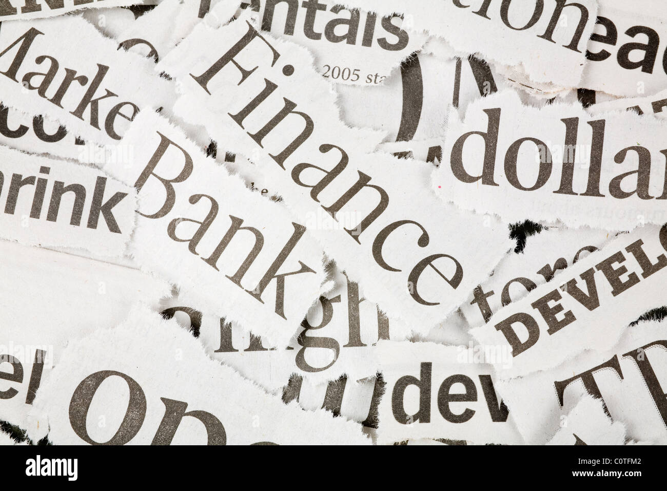Newspaper Headlines close up for background - Stock Image